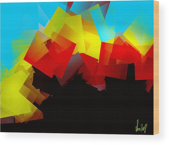 Sunrise Wood Print featuring the digital art Sunrise by Helmut Rottler