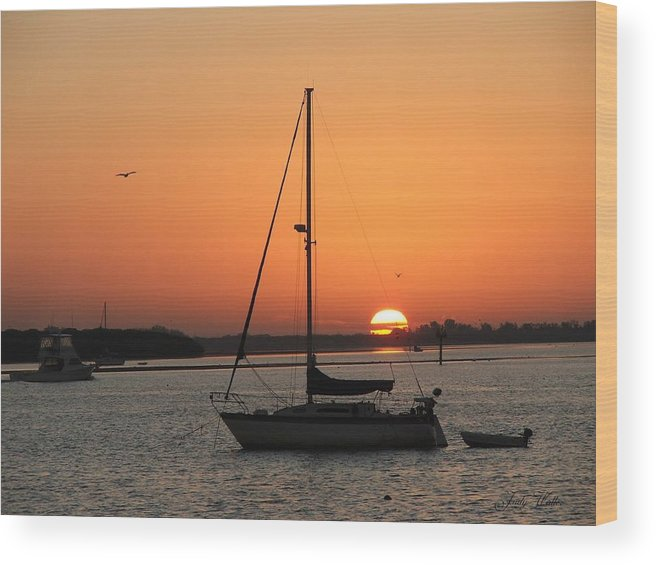 Landscape Wood Print featuring the photograph Sunrise On The Bay by Judy Waller
