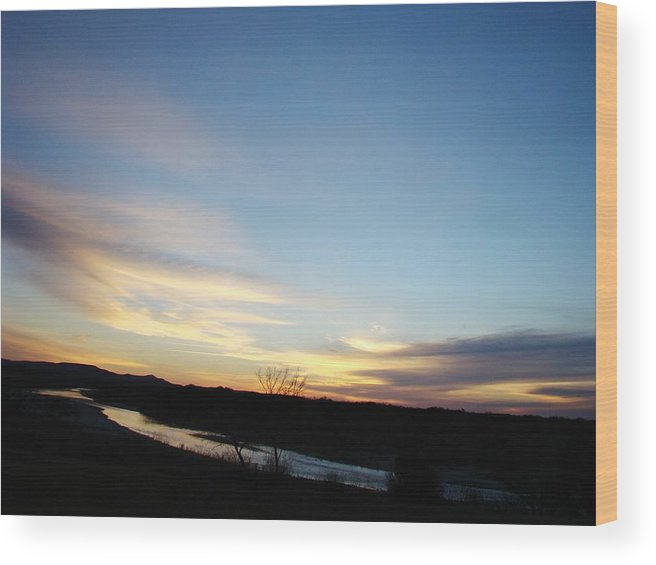 Landscape Wood Print featuring the photograph Sunrise River Two by Ana Villaronga
