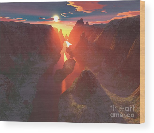 Canyon Wood Print featuring the digital art Sunset At The Canyon by Gaspar Avila