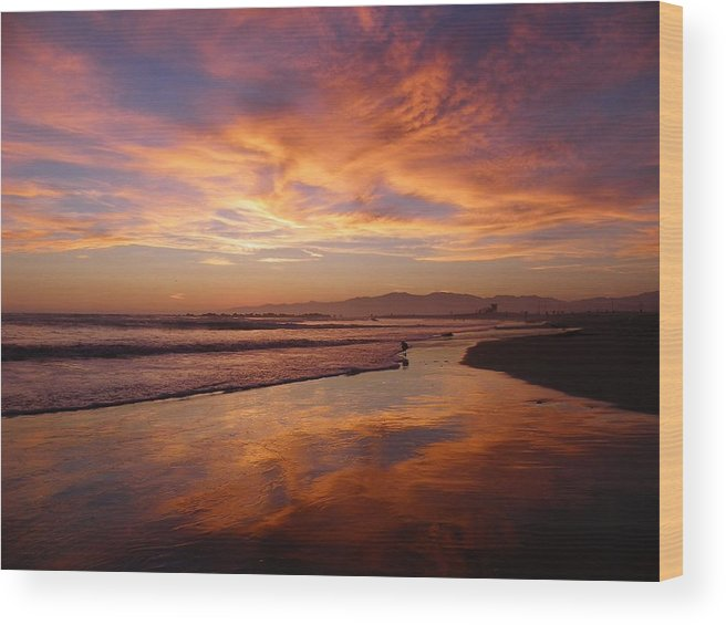 Sunset Wood Print featuring the photograph Sunset At Venice Beach by Henry Murray