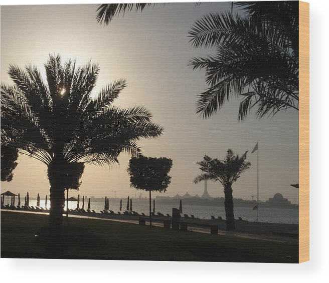 Sunset Wood Print featuring the photograph Sunset Beach by Valia Bradshaw
