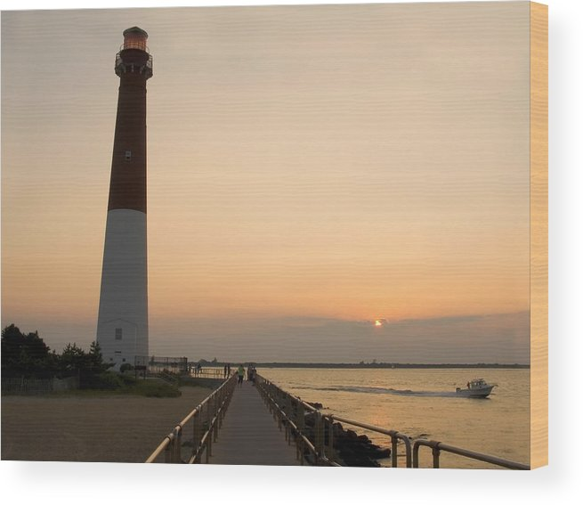 Barnegat Lighthouse Wood Print featuring the photograph Sunset Lighthouse by Andrew Kazmierski