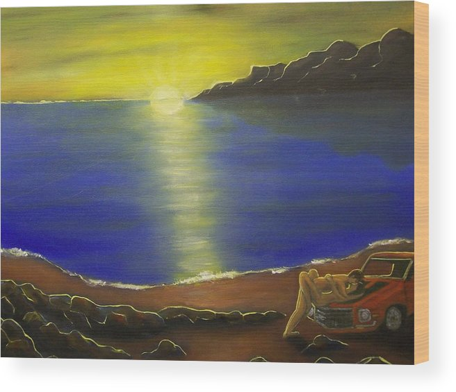 Sunset Wood Print featuring the painting Sunset Lovers by Charles Vaughn