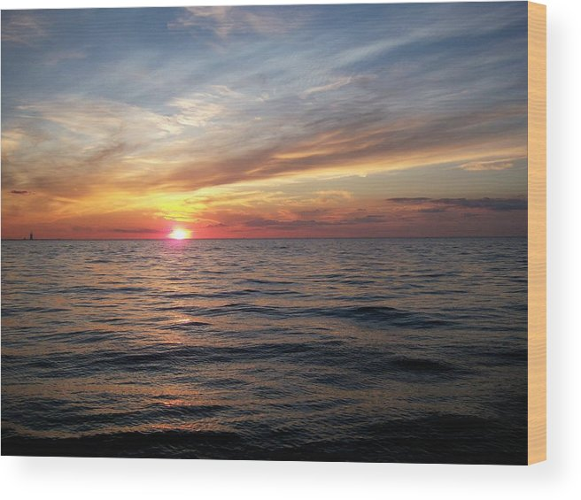 Inspiration Wood Print featuring the photograph Sunset On Lake Erie by Patricia R Moore