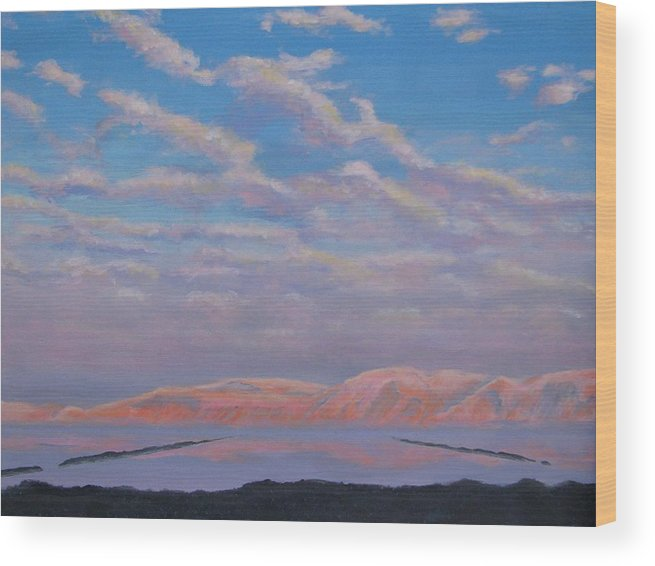Sunset Wood Print featuring the painting Sunset On The Dead Sea In Israel by Art Nomad Sandra Hansen