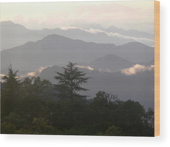 Sunset Wood Print featuring the photograph Sunset Over Chakrata Hills 2 by Padamvir Singh