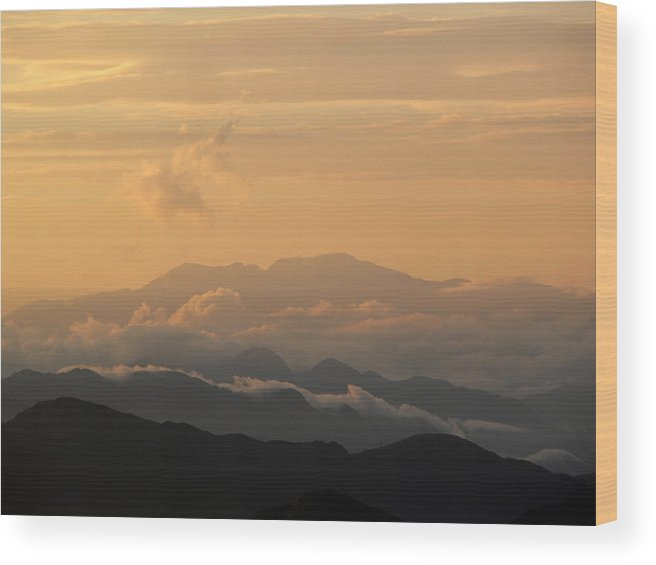 Sunset Wood Print featuring the photograph Sunset Over Chakrata Hills 5 by Padamvir Singh