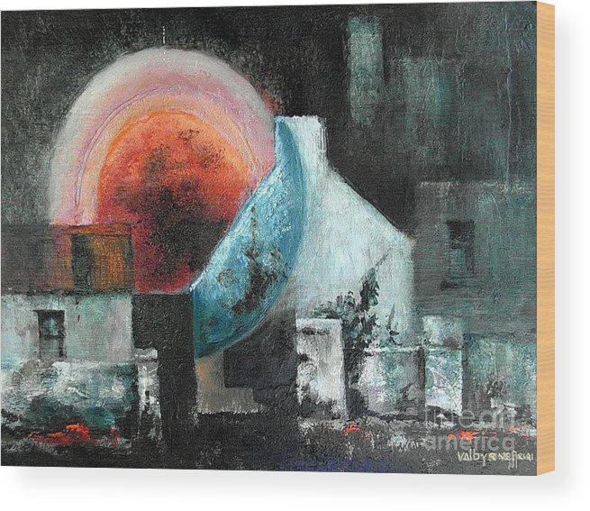 Wood Print featuring the painting Sunset by Val Byrne