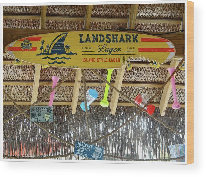 Wood Print featuring the photograph Surf This Tiki Hut by Tania Vojvodic