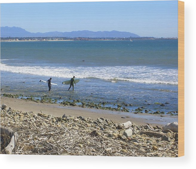 Beach Wood Print featuring the photograph Surfing In Ventura Ca by Robin Hernandez
