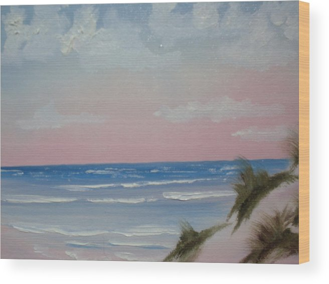 Landscape Oil Beach Wood Print featuring the painting Surfside by Warren Thompson