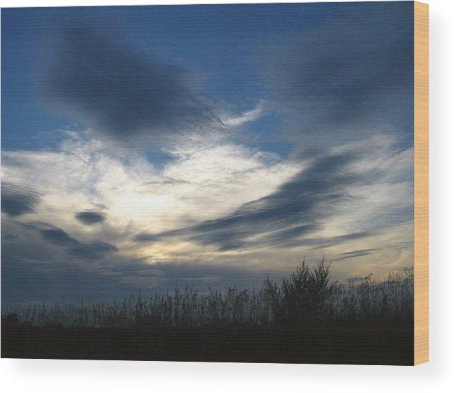 Sky Wood Print featuring the photograph Swirling Skies by Rhonda Barrett