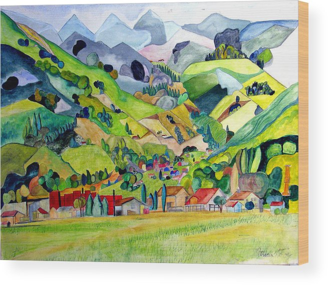 Landscape Wood Print featuring the painting Switzerland by Patricia Arroyo
