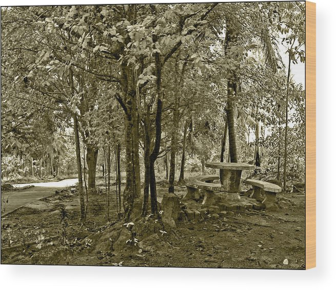 Table Wood Print featuring the photograph Table By The Phangan Hillside Temple by LeoLeo Khm