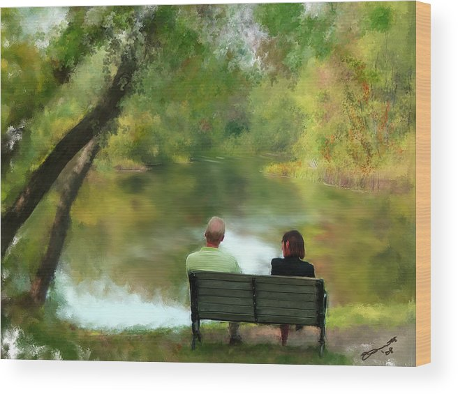 Summer Wood Print featuring the painting Talking It Over by Eddie Durrett