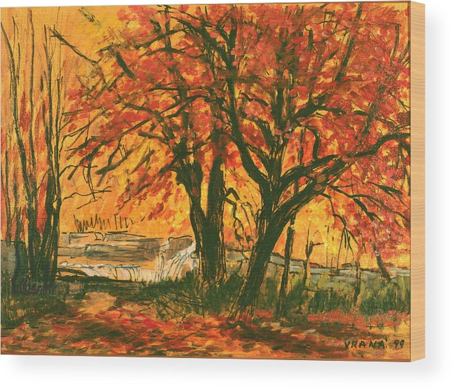 Taughannock Park Wood Print featuring the painting Taughannock Park Trumansburg New York by Ethel Vrana