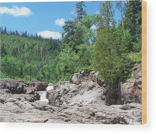 Wood Print featuring the photograph Teperance River Upper Falls by Wendy Smith