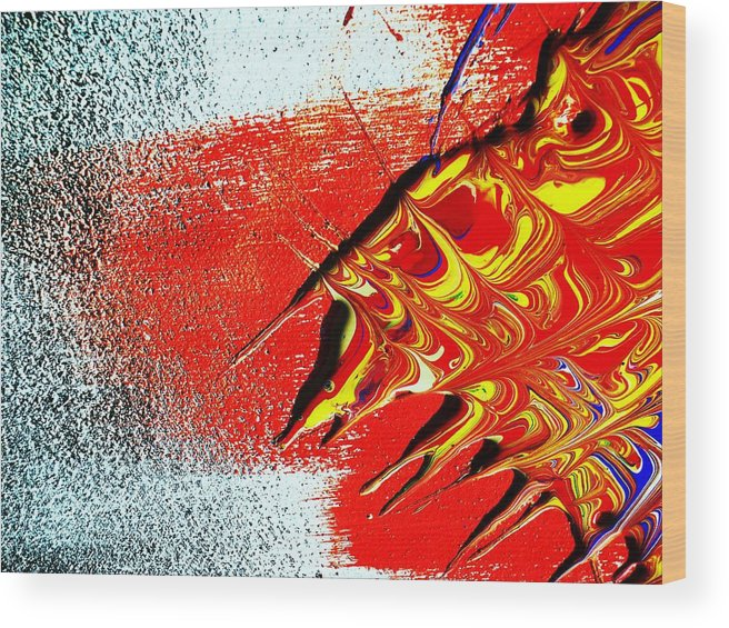 Intense-colorful-abstract-mixed-modern-red-raw- Wood Print featuring the painting Texture And Spike's by Adolfo hector Penas alvarado