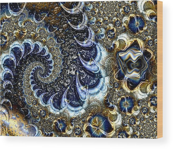 Fractal Diamonds Blue Jewel Dance River Wood Print featuring the digital art The Blue Diamonds by Veronica Jackson