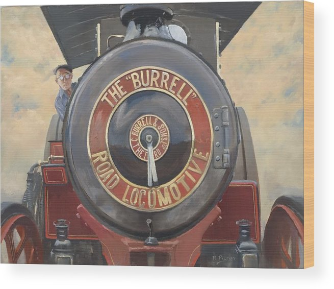 Traction Engine Wood Print featuring the painting The Burrell Road Locomotive by Richard Picton