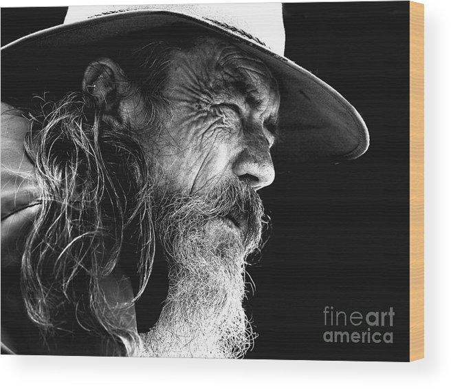 Australian Bushman Hat Wood Print featuring the photograph The Bushman by Sheila Smart Fine Art Photography