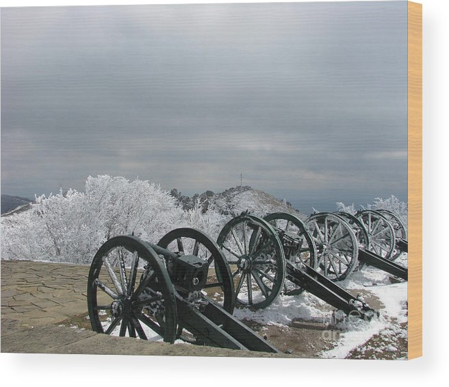 Cannon Wood Print featuring the photograph The Cannons At Shipka by Iglika Milcheva-Godfrey
