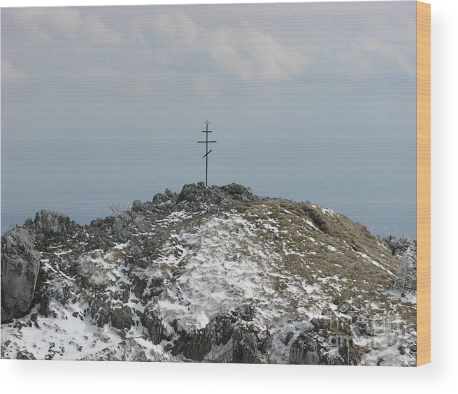 Monument Wood Print featuring the photograph The Cross At Shipka by Iglika Milcheva-Godfrey