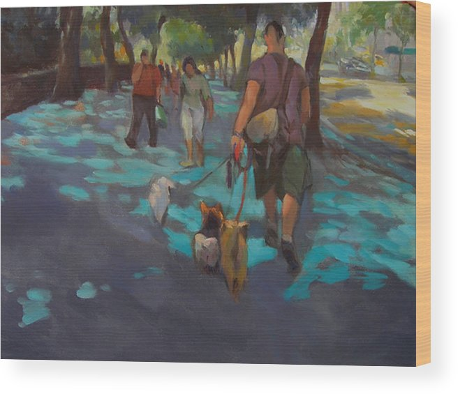 Dogs Wood Print featuring the painting The Dog Walker by Merle Keller