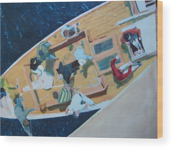 Sailboat Wood Print featuring the painting The Grissette by Brian McCoy
