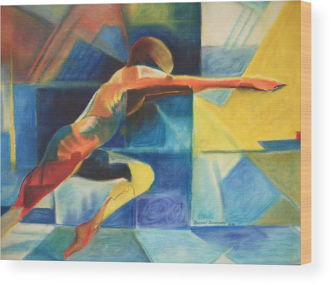 Gymnast Athlete Blue Life Male Figure Wood Print featuring the painting The Gymnast by Benedict Olorunnisomo