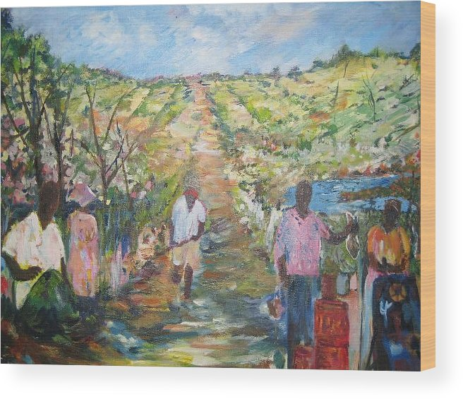 Folk Wood Print featuring the painting The Harvest by Impressionist FineArtist Tucker Demps Collection