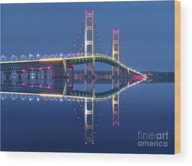 Awe Wood Print featuring the photograph The Lights Of Scenic Mackinac Bridge by James Brey