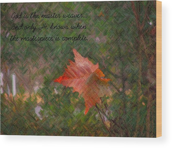 Leaf Wood Print featuring the photograph The Master Weaver by Judy Waller