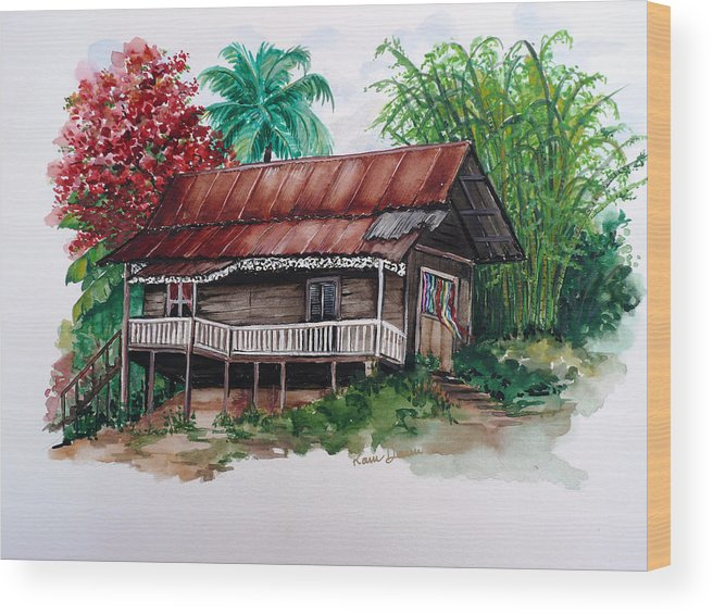 Tropical Painting Poincianna Painting Caribbean Painting Old House Painting Cocoa House Painting Trinidad And Tobago Painting  Tropical Painting Flamboyant Painting Poinciana Red Greeting Card Painting Wood Print featuring the painting The Old Cocoa House by Karin Dawn Kelshall- Best