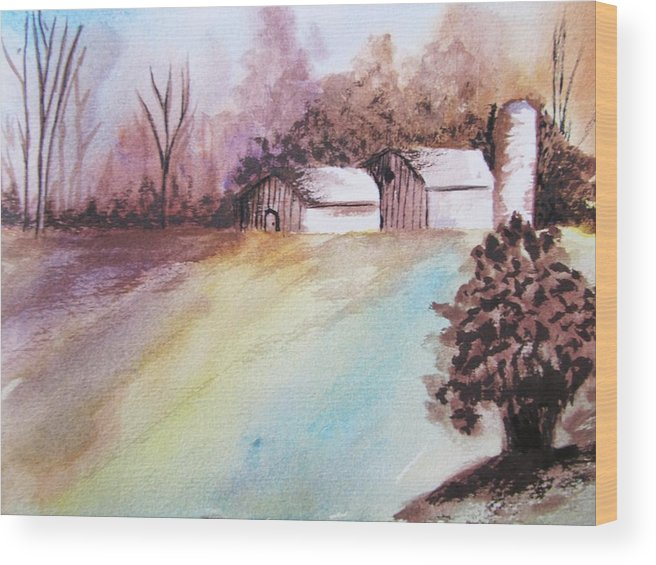 Barn Wood Print featuring the painting The Open Barn Door by Trilby Cole
