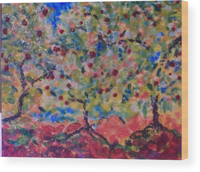 Landscape Wood Print featuring the painting The Orchard by Karla Phlypo-Price