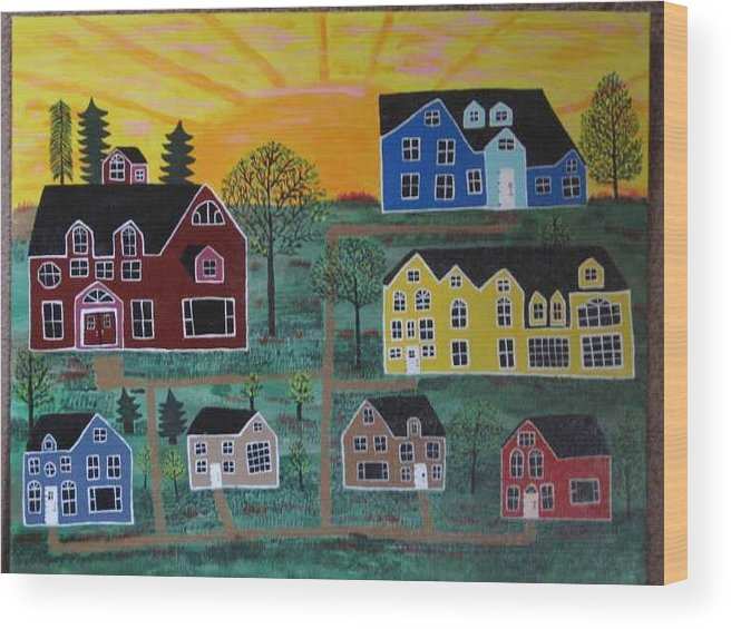 Sunshine Wood Print featuring the painting The Pines At Altonshine Sky by Mike Filippello