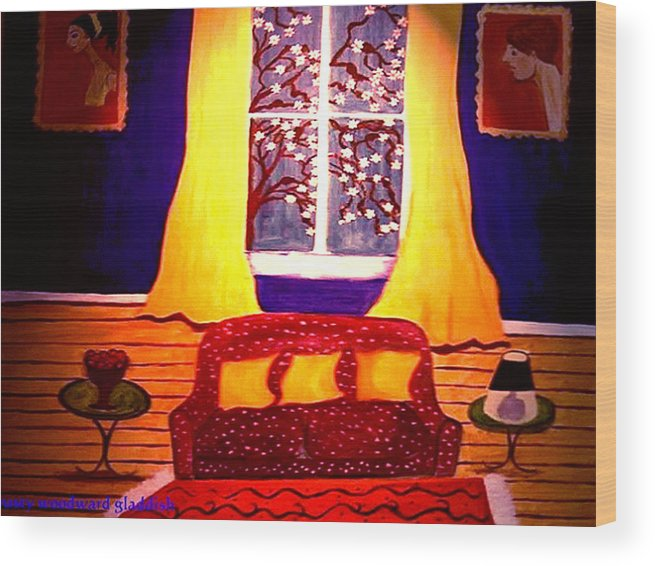 Still Life Wood Print featuring the painting The Polka Dot Sofa by Rusty Gladdish