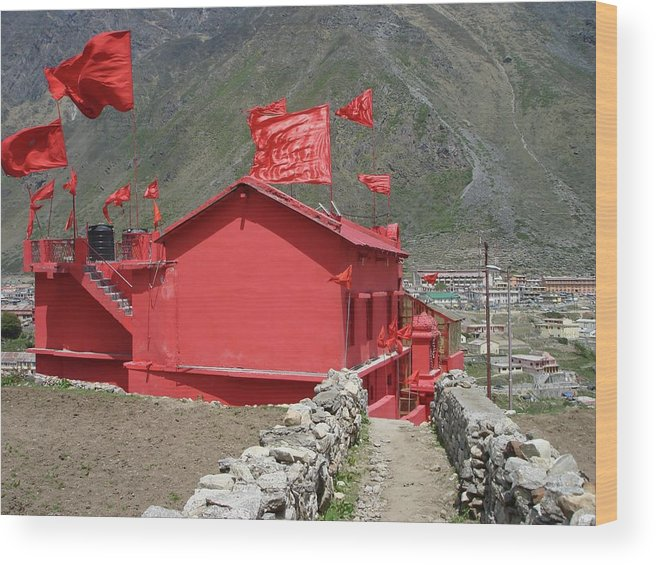 Himalayas Wood Print featuring the photograph The Red Temple by Sonya Ki Tomlinson