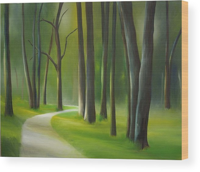 Macon Wood Print featuring the painting The Riverwalk by Debbie Anderson