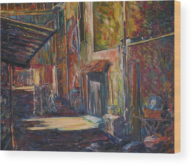 Buildings Wood Print featuring the painting The Shade - Kl Chinatown by Wendy Chua