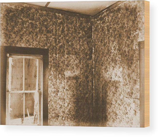 Abandoned Rustic Old Haunted Ghostly Scary Wood Print featuring the photograph The Sitting Room by Tingy Wende