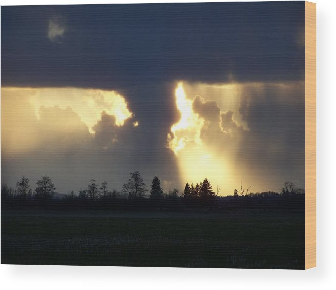 Digital Artwork Wood Print featuring the photograph The Storm IIi by Laurie Kidd
