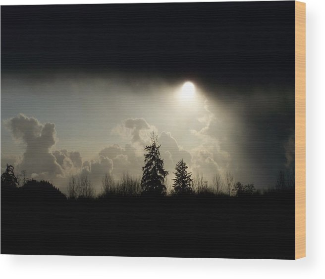 Digital Photography Wood Print featuring the photograph The Storm Looms by Laurie Kidd