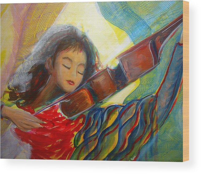 Violin Wood Print featuring the painting The Sweetest Sounds by Regina Walsh