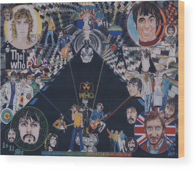 Pete Townshend;roger Daltrey;john Entwistle;keith Moon;quadrophenia;opera;story;four;music;guitars;lasers;mods;rockers;london;brighton;1964 Wood Print featuring the drawing The Who - Quadrophenia by Sean Connolly