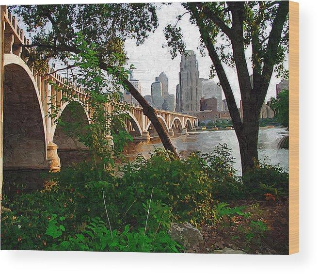 Minneapolis Wood Print featuring the photograph Third Avenue Bridge by Tom Reynen