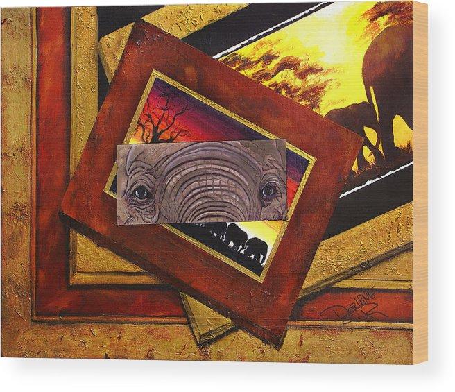 Elephant Eyes Wood Print featuring the painting Those Eyes Elephant Safari Series by Darlene Green