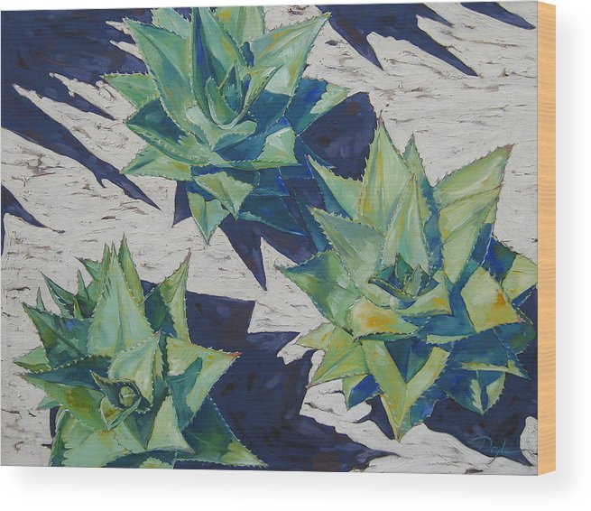 Botanical Wood Print featuring the painting Three Aloe by Karen Doyle